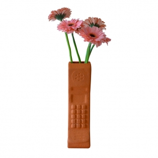 Terracotta brick phone vase