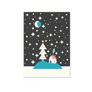 Snow night postcard