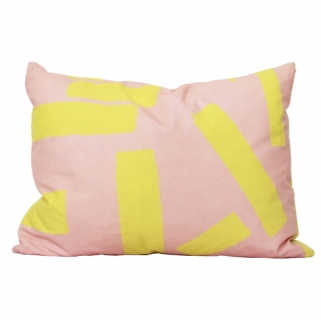 Pink/yellow cushion cover