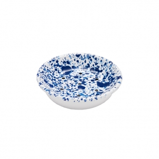 White and blue soap dish