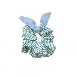 Striped teal scrunchy