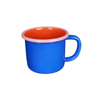 Cobalt/red colorama enamel mug