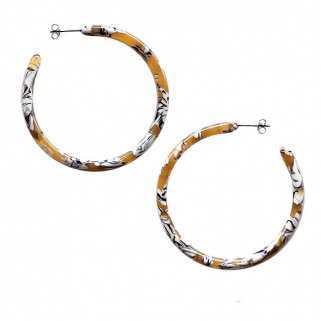 Large hoops calico earrings